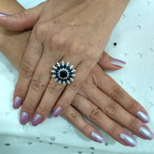 anel zirconia branca e azul