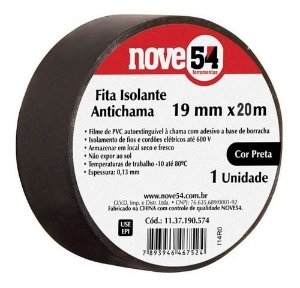 Fita Isolante PVC 19mm x 20m Preta - NOVE54