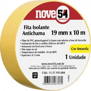 Fita Isolante Amarela Nove54 19mm x 10m