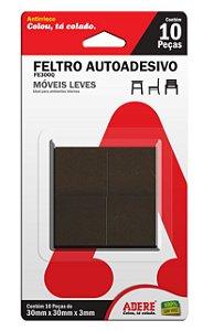 FE300Q 22mm X 22mm Feltro Autoadesivo Escuro Quadrado 3mm