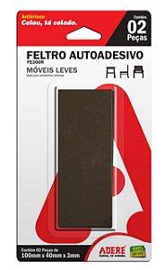 FE300R 100mm X 40mm Feltro Autoadesivo Escuro Retangular 3mm