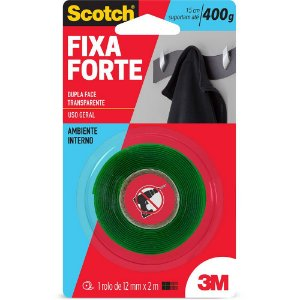 Fita Adesiva Dupla Face Fixa Forte 12mm x 2m Scotch 3M