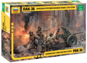 German Anti-Tank Gun With Crew 1/35 Zvezda Montado