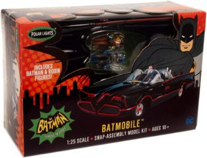 Batmóvel 1966 Com Figuras do Batman e Robin e Carroceria Pré Pintada 1/25 Polar Lights