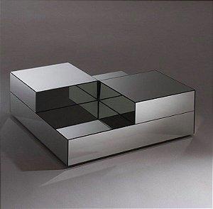 Mesa de centro bicolor toda espelhada