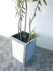 Vaso cachepot Branco C/ detalhe em espelho - F82
