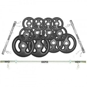 Kit para Halteres e Supino Sepo: 3 Barras para Musculação + 12 Anilhas - 50Kg