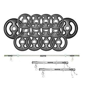 Kit para Halteres e Supino Sepo: 3 Barras para Musculação + 14 Anilhas - 24Kg