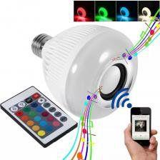 Lâmpada Led 12w Caixa Som Bluetooth Mp3 Controle Remoto Music Bulb