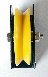 Roldana Com Caixa Para Portão De Correr - 4 Polegadas Canal V (100 mm)