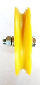 Roldana Com Rolamento Canal U Nylon - 5 polegadas (125 mm)