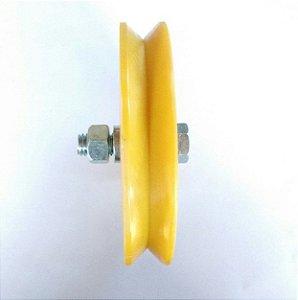 Roldana Com Rolamento Canal V Nylon - 4 polegadas (100 mm)