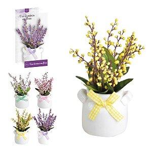 Vaso Cerâmica c/ planta artificial - Bolinhas