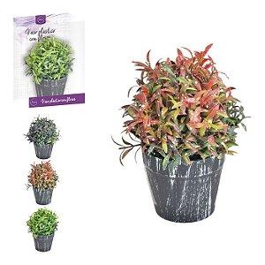 Vaso Plástico c/ Planta Artificial