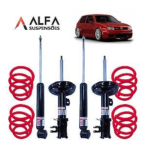 KIT COMPLETO DE SUSPENSÃO FIXA ESPORTIVA VW GOLF MK4 (1999/2013)