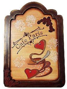 Placa Decorativa Café Paris (25x35) com Moldura