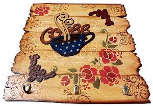 Placa Decorativa Coffee Floral (40x40) com Ganchos