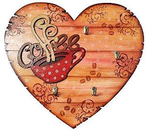 Placa Decorativa Coffee Coração (30x27) com Ganchos