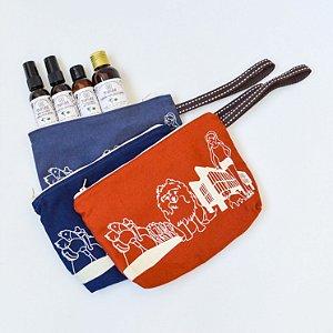 Kit de viagem com necessaire e lavanda com manteiga de karité