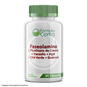 Faseolamina + Picolinato de Cromo + Vanádio + Açai + Chá Verde + Guaraná