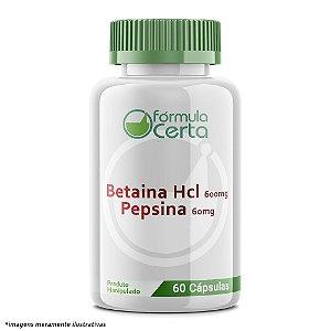Betaina Hcl 600mg + Pepsina 60mg - 60 Doses