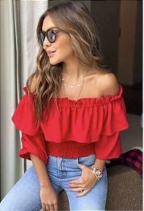 Blusa Crepe com Lastex Angelique Vermelha