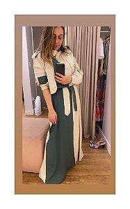 Vestido Chemisie de Linho Bicolor