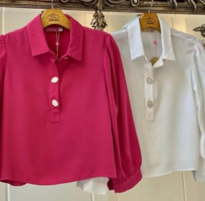 Camisa Chic Botões Pink