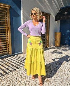 Saia Amarela com bordado floral