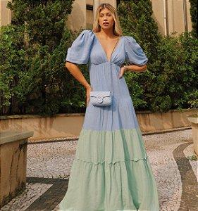 Vestido Longo Bicolor Azul
