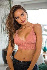 Top Rendas Básico rosa pessego