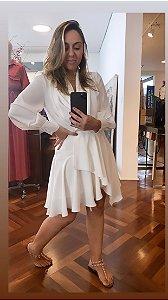 Vestido Crepe Decote Cruzado OFF White
