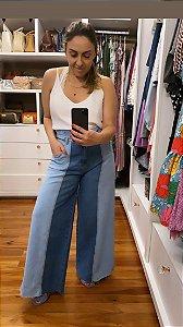 Calça Jeans lavagem bicolor