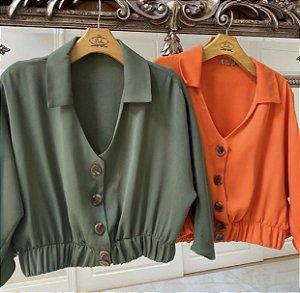 Blusa Botões Verde Lulu