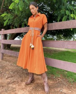 Vestido Crepe com elastano e cinto
