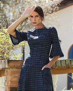 Vestido Tweed Azul Marinho