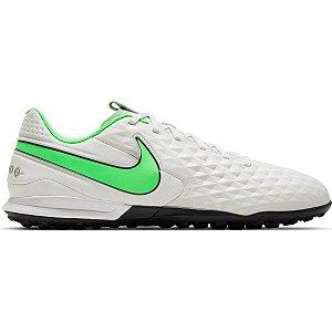Chuteira Society Nike Tiempo Legend 8 Academy TF - Branco+Verde