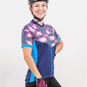 Camisa Ciclista Manga Curta Zíper Total Feminina Aurora 04227 Poker-Bike