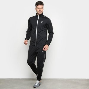 Agasalho Nike M Nsw Ce Trk Suit Pk Basic Masculino - Preto+Branco