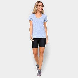Camiseta Under Armour Tech Feminina - Azul+Prata