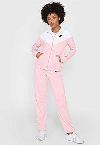 Agasalho Nike Nsw Trk Suit Pk Rosa/Branco Feminino - Rosa