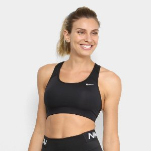 Top Nike Med Non Pad Bra Média Sustentação - Preto+Branco