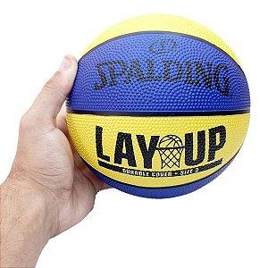 Mini Bola de Basquete Spalding Lay-Up Baby - Borracha - Amarelo+Azul