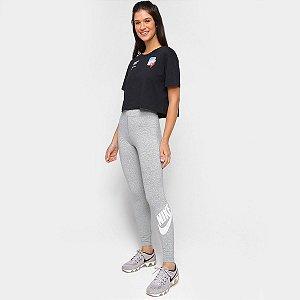 Calça Legging Nike Essential Futura Feminina - Cinza+Branco