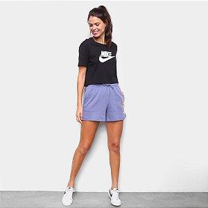 Camiseta Cropped Nike Sportswear Essential CR Feminina - Preto+Branco