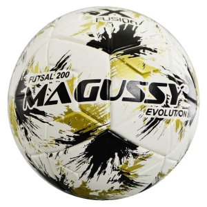 Bola Infantil Magussy Evolution X-Fusion Max 200 Futsal Sub 13 - Branco+Preto