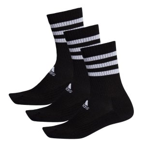 Meias Adidas 3-Stripes 3 Pares Unissex - Preto+Branco