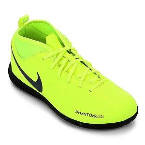 Chuteira Futsal Infantil Nike Phantom Vision Club DF IC - Verde Limão e Azul Royal AO3293-717