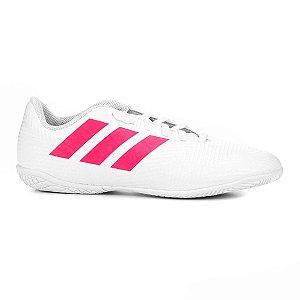 Chuteira Futsal Infantil Adidas Nemeziz 18 4 IN - Branco e Pink CM8521