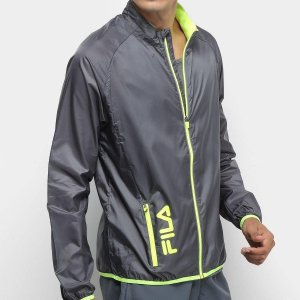 Jaqueta Fila Windbreak Pocket Masculina - Grafite e Amarelo Corta Vento